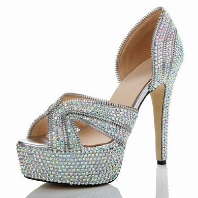 Women's  Real Leather Pumps with Crystal/Crystal Heel #LDB03030482