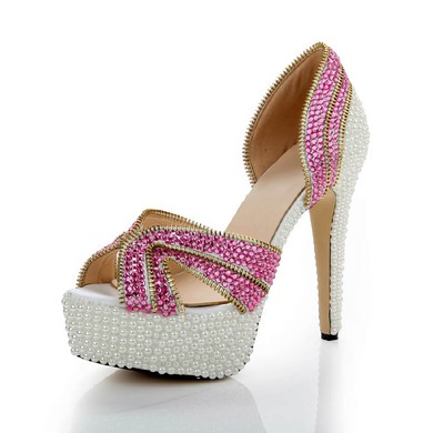 Women's Fuchsia Patent Leather Pumps with Crystal/Crystal Heel #LDB03030483
