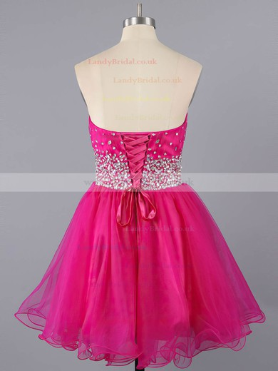 Fuchsia Tulle Short/Mini Crystal Detailing Lace-up Sweetheart Prom Dresses #LDB02111410