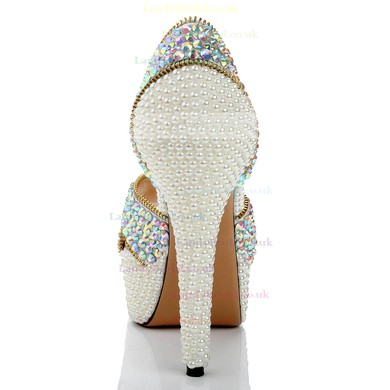 Women's  Patent Leather Pumps with Zipper/Crystal/Crystal Heel #LDB03030484