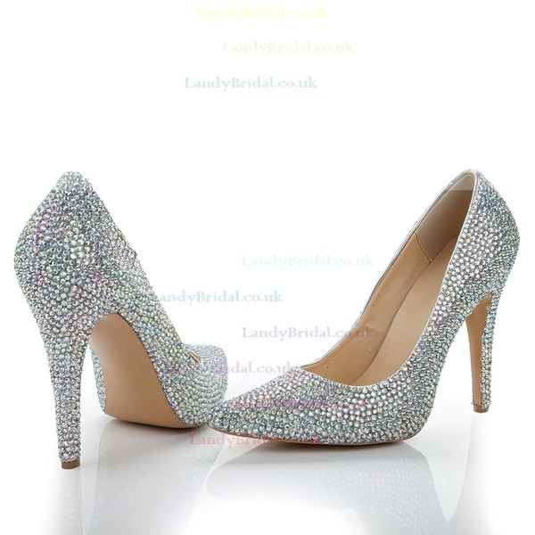 Women's  Real Leather Pumps with Crystal/Crystal Heel