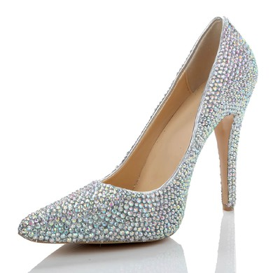 Women's  Real Leather Pumps with Crystal/Crystal Heel #LDB03030485