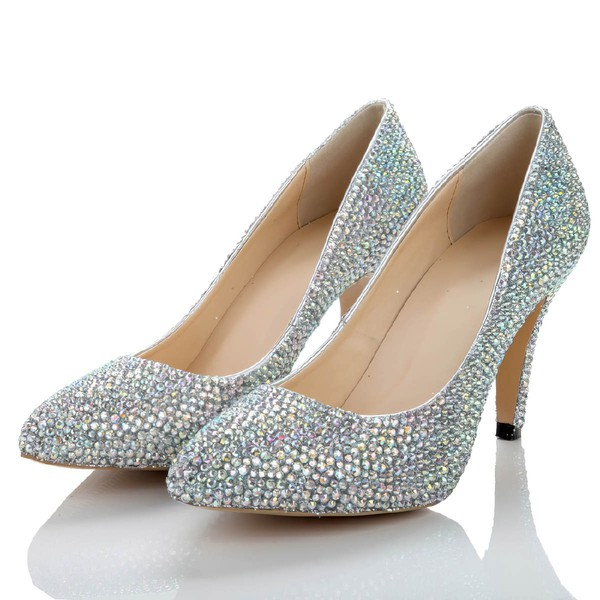 Women's  Real Leather Pumps with Crystal/Crystal Heel #LDB03030486