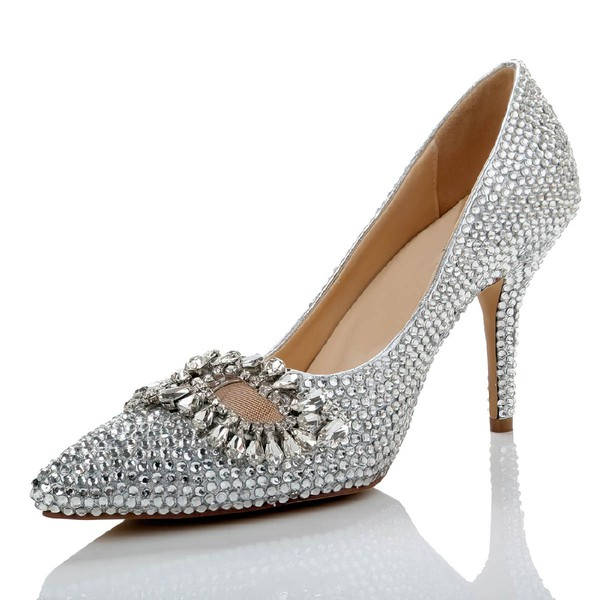 Women's Silver Real Leather Pumps with Crystal/Crystal Heel #LDB03030487