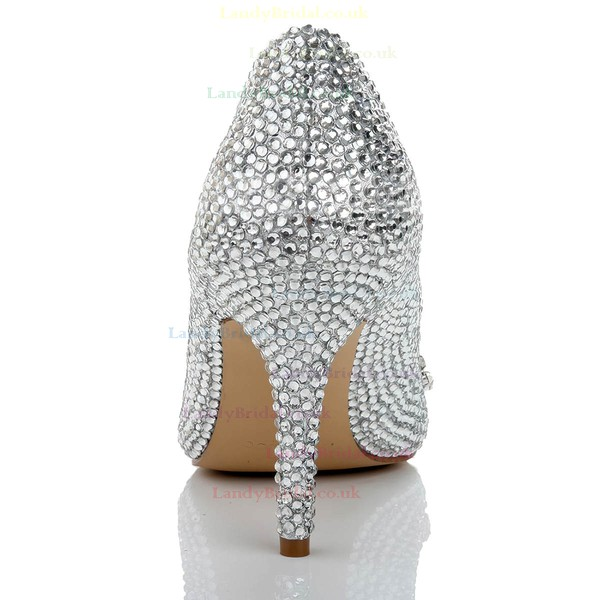 Women's Silver Real Leather Pumps with Crystal/Crystal Heel
