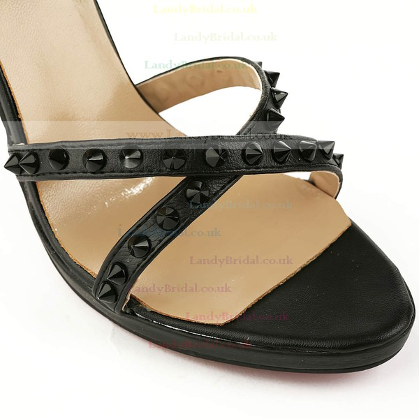 Women's Black Real Leather Pumps with Buckle/Rivet