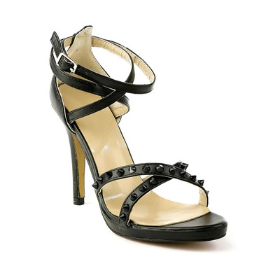 Women's Black Real Leather Pumps with Buckle/Rivet #LDB03030489