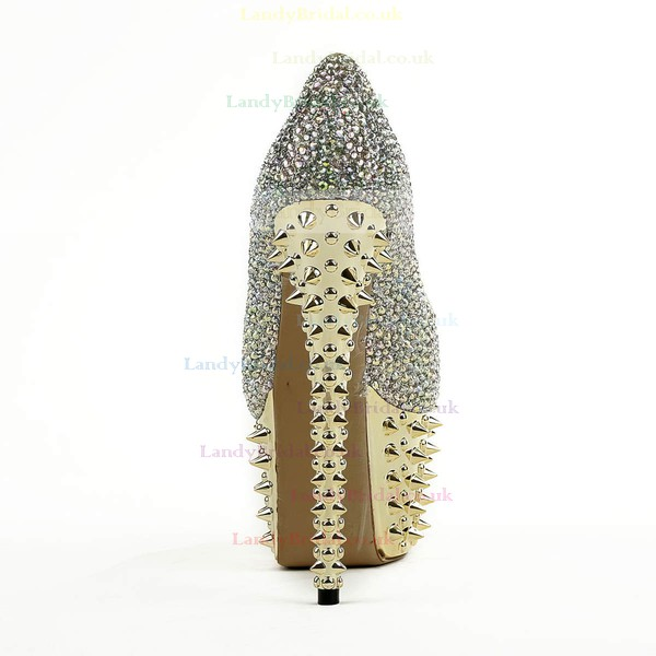 Women's  Real Leather Pumps with Crystal/Rivet