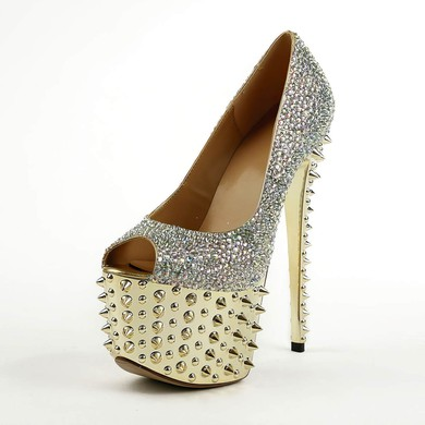 Women's  Real Leather Pumps with Crystal/Rivet #LDB03030490