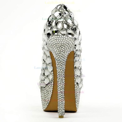 Women's Silver Patent Leather Pumps with Crystal/Crystal Heel #LDB03030494