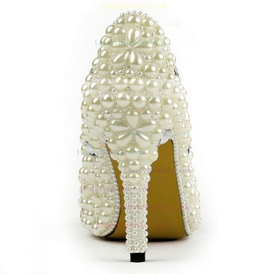Women's Ivory Patent Leather Pumps with Rhinestone/Imitation Pearl #LDB03030495