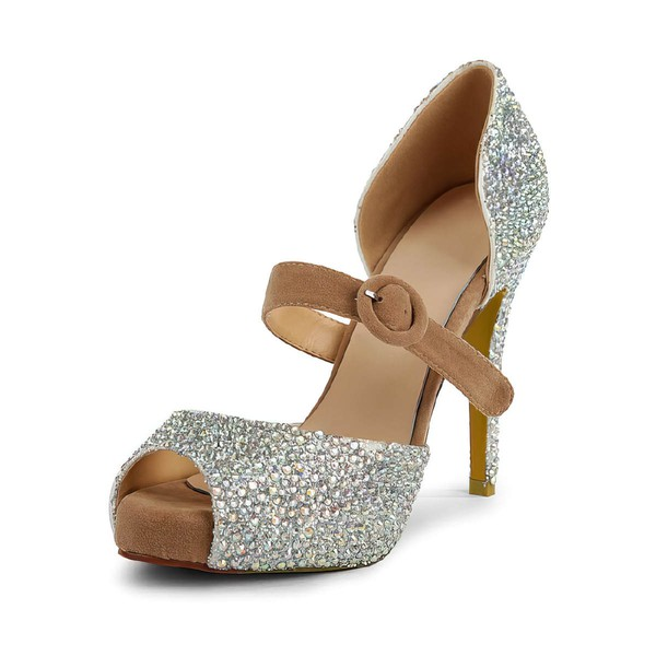 Women's  Suede Pumps with Buckle/Imitation Pearl #LDB03030498
