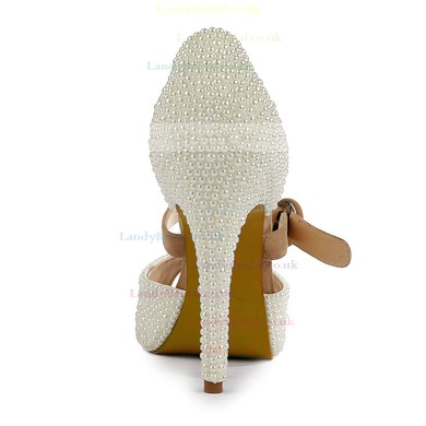 Women's Ivory Suede Pumps with Buckle/Imitation Pearl #LDB03030499