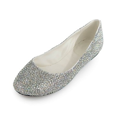 Women's  Patent Leather Flats with Crystal #LDB03030500