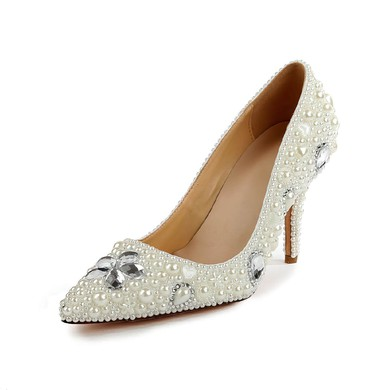 Women's Ivory Patent Leather Pumps with Rhinestone/Imitation Pearl #LDB03030501