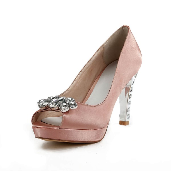 Women's Pink Satin Pumps with Rhinestone