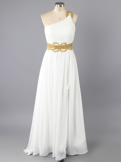 A-line White Chiffon Sequins and Split Front One Shoulder Hot Prom Dresses #LDB02130058