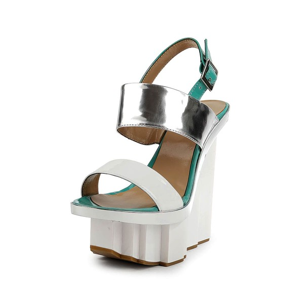 Women's White Patent Leather Sandals with Buckle