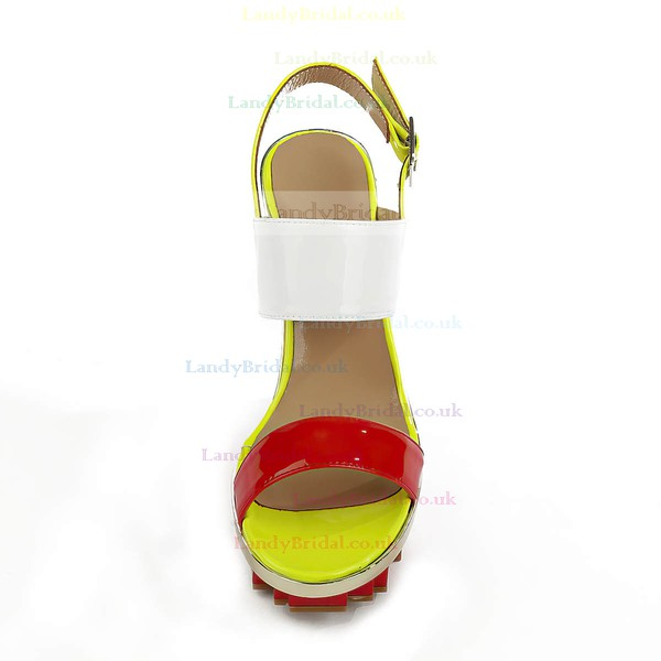 Women's Red Patent Leather Sandals with Buckle