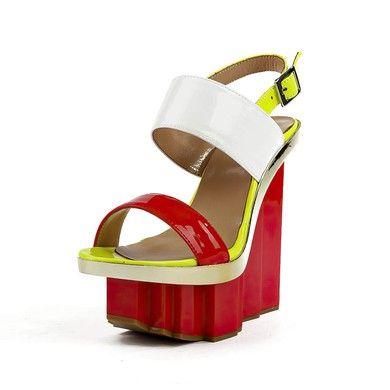 Women's Red Patent Leather Sandals with Buckle #LDB03030506