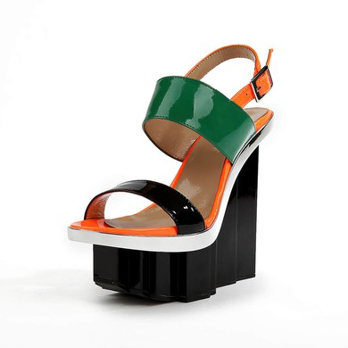 Women's Black Patent Leather Sandals with Buckle #LDB03030507