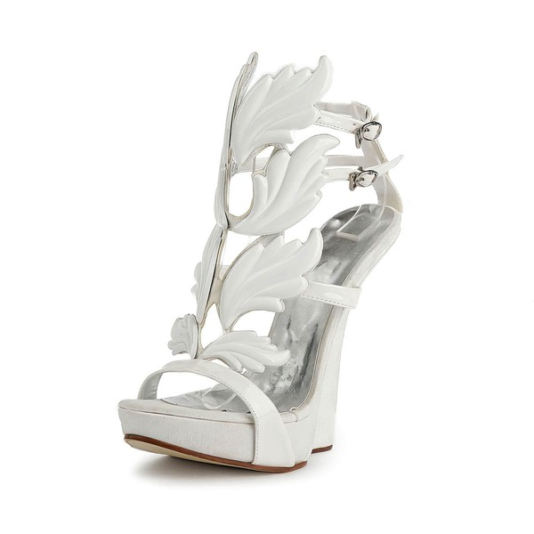 Women's White Patent Leather Sandals with Buckle #LDB03030509