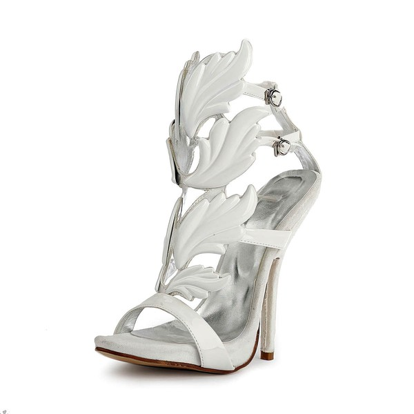 Women's White Patent Leather Pumps with Buckle #LDB03030510