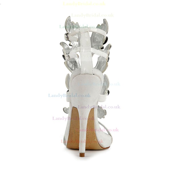Women's White Patent Leather Pumps with Buckle