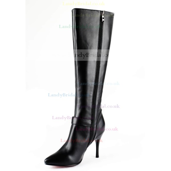 Women's Black Real Leather Knee High Boots with Buckle
