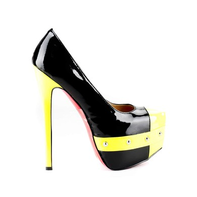 Women's  Patent Leather Pumps with Rivet #LDB03030513