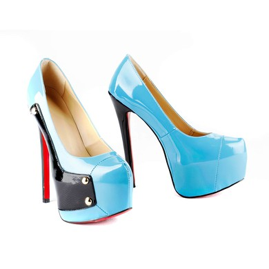 Women's Blue Patent Leather Pumps with Split Joint #LDB03030514