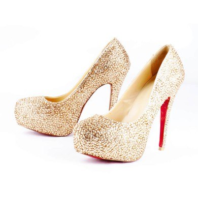 Women's  Sparkling Glitter Pumps with Crystal/Crystal Heel #LDB03030516