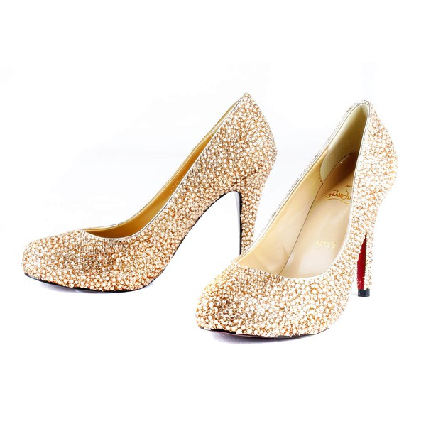 Women's  Real Leather Pumps with Crystal/Crystal Heel #LDB03030517