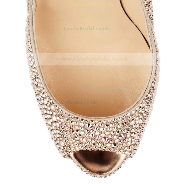 Women's Black Leatherette Pumps with Crystal/Crystal Heel