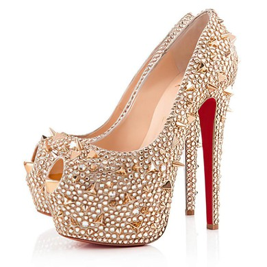 Women's Champagne Satin Pumps with Crystal/Crystal Heel/Rivet #LDB03030519