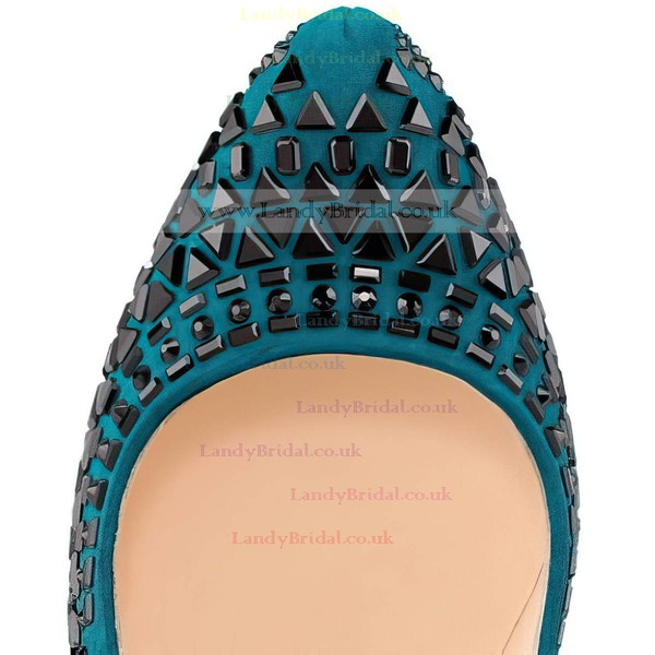 Women's Turquoise Suede Pumps with Rivet