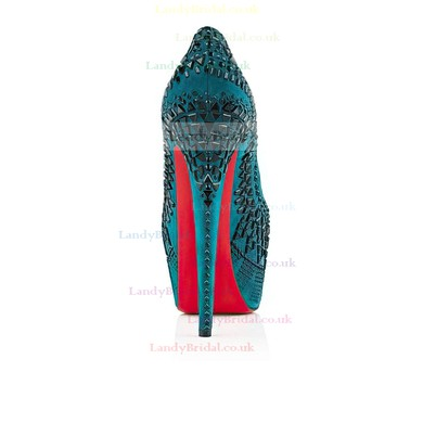 Women's Turquoise Suede Pumps with Rivet #LDB03030520