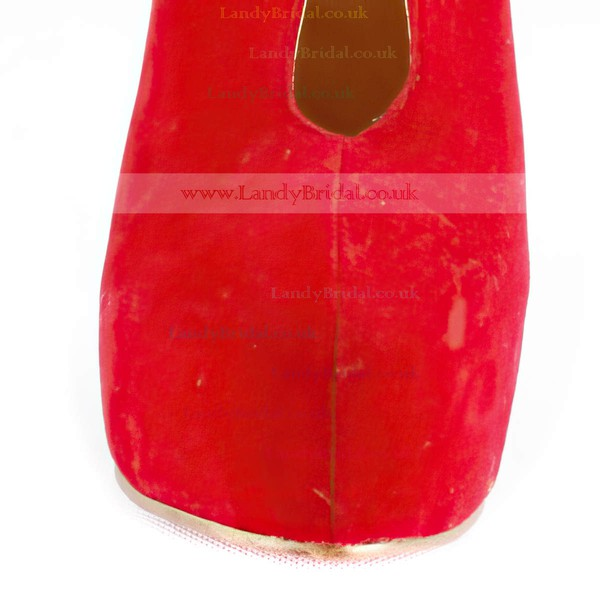Women's Red Suede Pumps with Split Joint