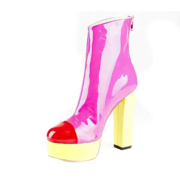 Women's Multi-color Patent Leather Pumps with Zipper/Split Joint