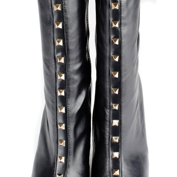 Women's Black Real Leather Pumps with Zipper/Rivet