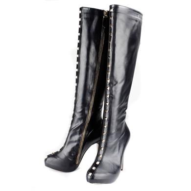 Women's Black Real Leather Pumps with Zipper/Rivet #LDB03030533