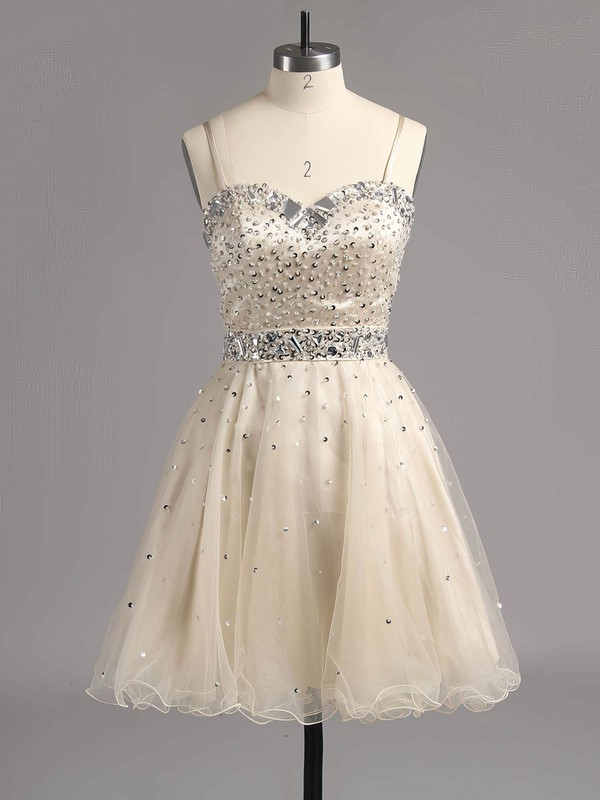 Short/Mini Crystal Detailing Sweetheart Lace-up Dark Navy Tulle Prom Dress #LDB02014607