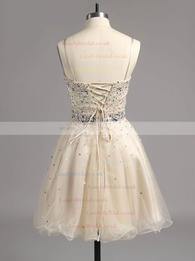 Short/Mini Crystal Detailing Sweetheart Lace-up Dark Navy Tulle Prom Dress #LDB02014607