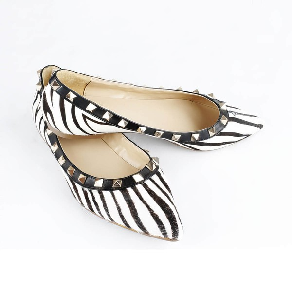 Women's Multi-color Leatherette Flats with Rivet/Animal Print #LDB03030534