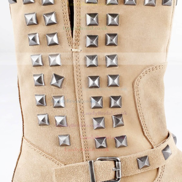 Women's Khaki Suede Mid-Calf Boots with Buckle/Rivet