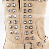Women's Khaki Suede Mid-Calf Boots with Buckle/Rivet #LDB03030535