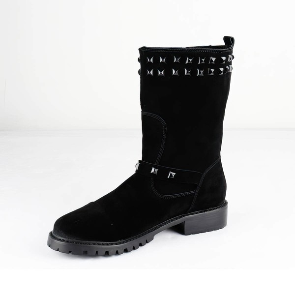 Women's Black Suede Ankle Boots with Rivet