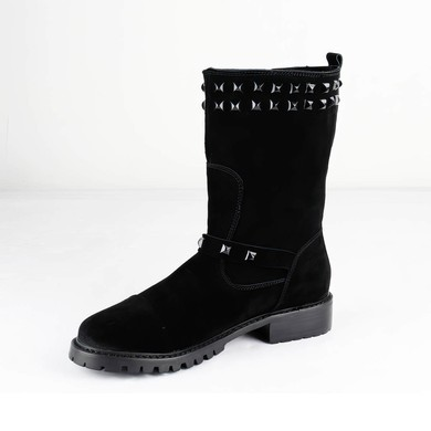 Women's Black Suede Ankle Boots with Rivet #LDB03030536