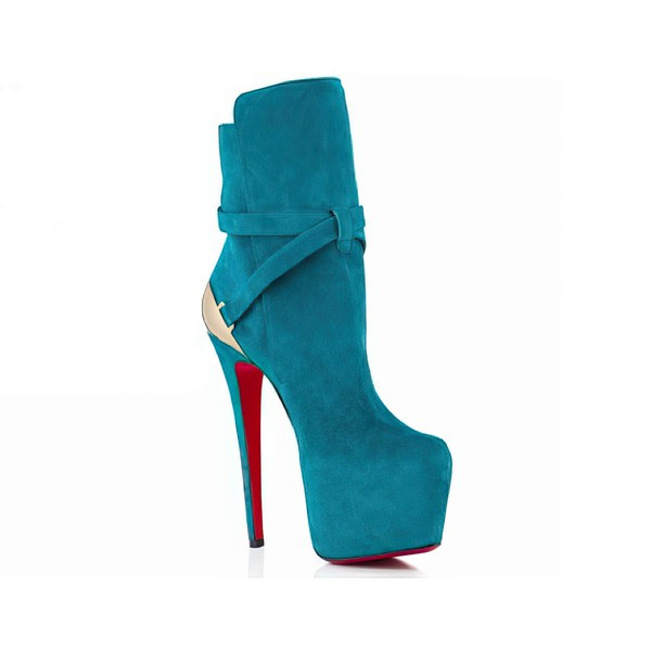 Women's Turquoise Suede Pumps with Buckle #LDB03030539