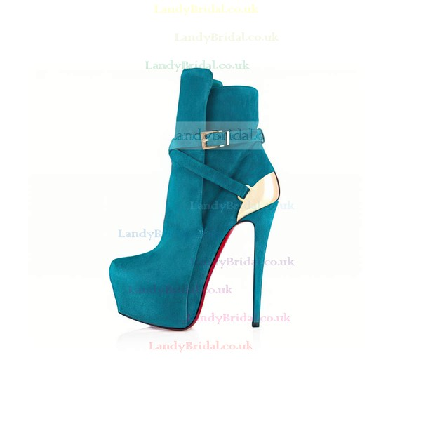 Women's Turquoise Suede Pumps with Buckle